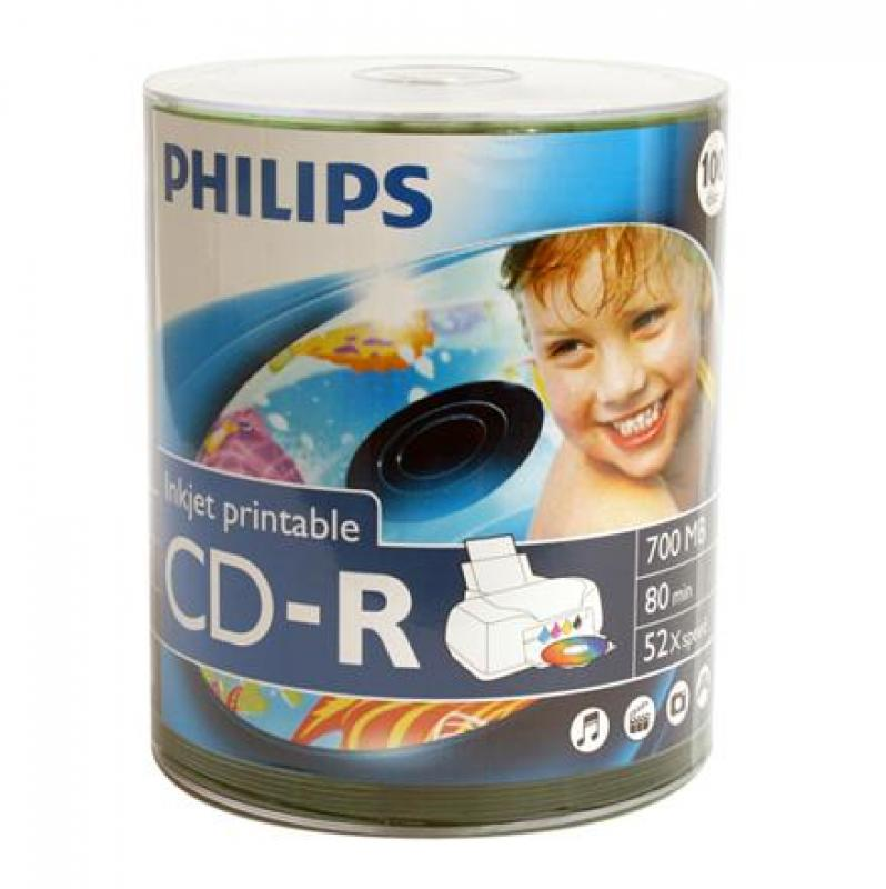 Philips Cd-r 52x cake*100 printabil